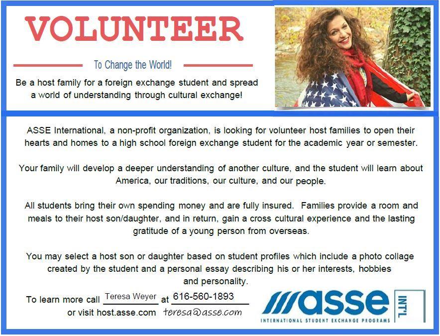 student exchange program  home host family volunteer information